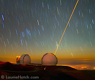 Laser Firing from Keck Twin in Moonlight